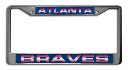 Atlanta Braves Sports Plate - MLB Atlanta Braves Laser-Cut Chrome Auto License Plate Frame