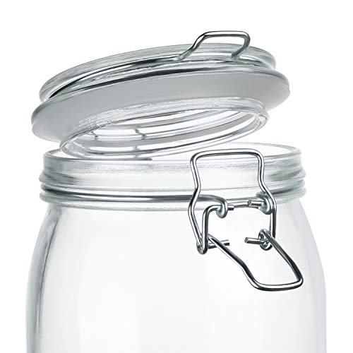 Wide Mouth Mason Jars, OAMCEG 4-Piece 1 L Airtight Glass Preserving Jars with Leak Proof Rubber Gasket and Clip Top Lids, Perfect for Storing Coffee, Sugar, Flour or Sweets - 8 Labels & 1 Chalk Marker by OAMCEG (Image #2)