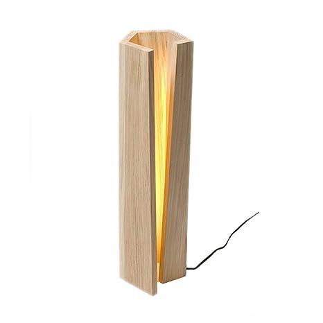 Lámpara de mesita de noche LED lámpara de mesa de madera regulable ...