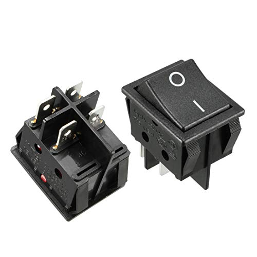 uxcell 5Pcs AC 16A/125V 16A/250V 4 Terminal 2 Position Boat DPST Rocker Switches Black