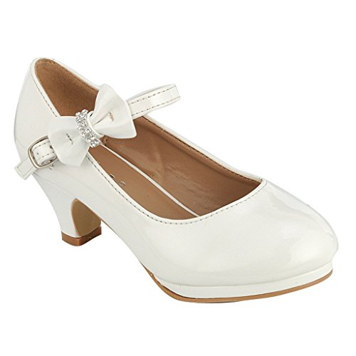 White Dress Shoes Navy (Forever Dana Little Girl Kids Mid Heel Mary Jane Sandal PU Leather Dress Pumps Dancing Shoes White 9 Toddler)