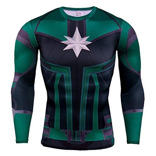 HIMIC E77C Hot Movie Super Hero Quick-Drying ElasticT-Shirt Costume (Small,Captain Marvel Long 1)
