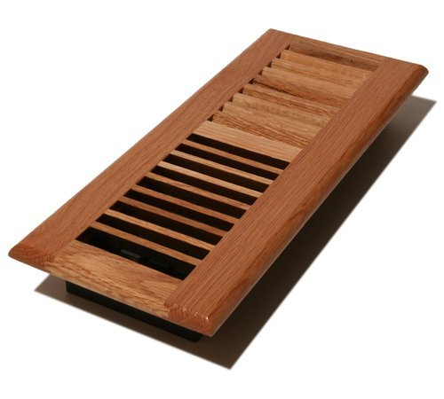 Decor Grates WL412-N Wood Louver Floor Register, Natural Oak, 4-Inch by 12-Inch by Decor Grates (Oak Natural Register)