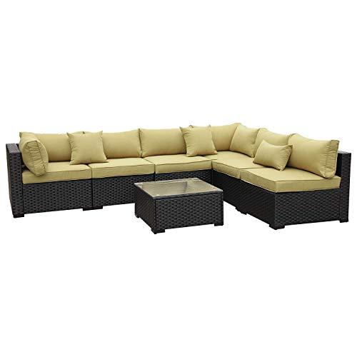 VALITA Outdoor PE Wicker Furniture Set 7 Pieces Patio Black Rattan Sectional Conversation Sofa C ...