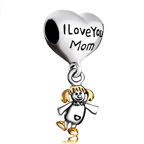 Pugster Love Mom Heart Dangle Baby Girl Mother Bead Fit Pandora Charms Bracelet by Pugster