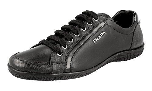 Prada Women's 3E5620 Black Saffiano Leather Sneaker US 10 / EU 40 (Women Prada Sneakers)