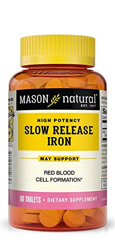 Mason Natural Slow Release Iron, Compare to The Active Ingredients In Slow Fe, 60 Tablets