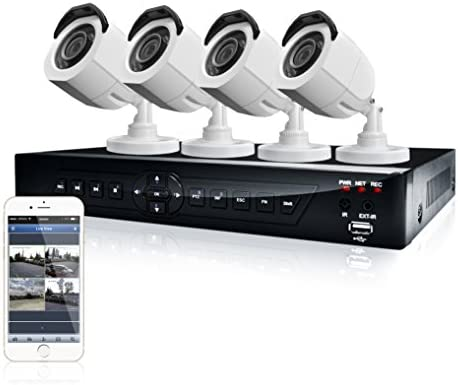 LaView 4 HD 720P Camera Security System, 4 Channel 720P HD-TVI DVR w 500GB HDD and 4 720P HD White Bullet Surveillance Camera Kit