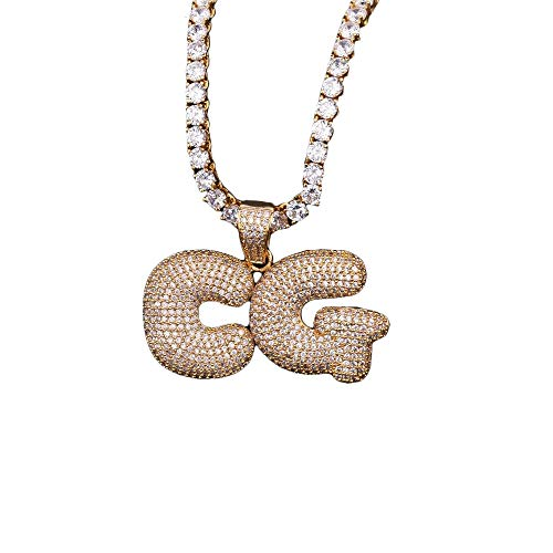Hip hop A - Z Initial or 0-9 Number or Custom Bubble Letter Pendant with Tennis Chain for Men - Tennis Necklace Bubble