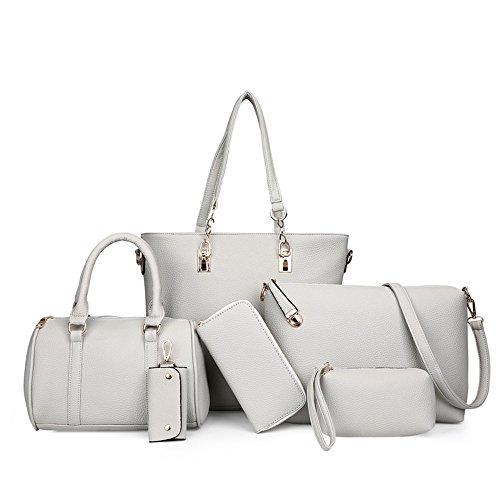 Sjmmbb Woman Bag With A Large Bag, Gray And Gray Six-piece Set