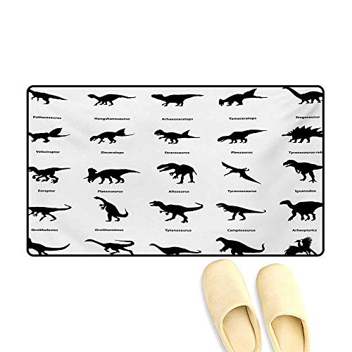 - Door Mats,Collection of Different Dinosaurs Silhouettes with Their Names Evolution Wildlife,Bath Mats for Bathroom,Black White,20