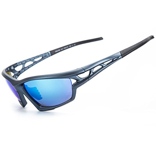 Shieldo Polarized Sports Sunglasses For Men And Women Running Cycling Fishing, Mirrored Integrated Polarized Lens Unbreakable Frame SQS005 (Black-Blue)