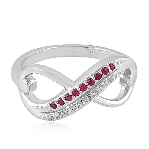 Mettlle 925 Sterling Silver Natural Ruby and White Topaz Two Row Infinity Style Ring for Women Size 6 ()