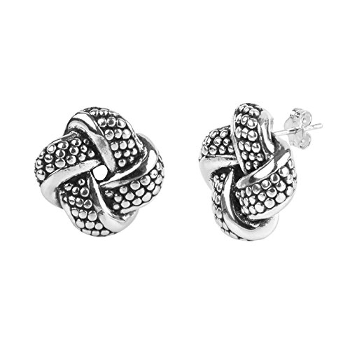 LeCalla Sterling Silver Jewelry Italian Design Light Weight Antique Granule Texture Love Knot Stud Earrings for Women