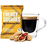 Quantum Energy Squares - Coffee-Infused Energy Bars (Crunchy Peanut Butter with Chocolate) Gluten free, Vegan, Dairy free, Soy free, non-GMO (Pack of 10 bars)