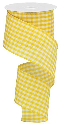 (Primitive Gingham Check Wired Edge Ribbon, 10 Yards (Mustard, Ivory, 2.5