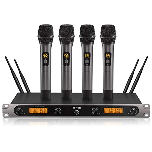 4-Channel Wireless Microphone System, TONOR UHF Metal Cordless Mic Set Karaoke Machine, Ideal for Party, Home KTV, Church, Weddings, Stage Performance, DJ, Outdoor Events, 200ft (TW-820 Plus)