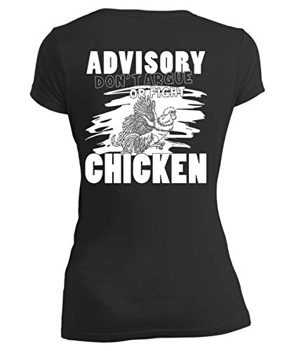 Being A Farmer Women's V-Neck Tee, Advisory Don't Argue Or Fight Chicken T Shirt-Women V-Neck (S, Black)