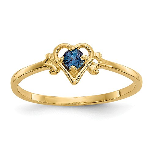 14k Yellow Gold Synthetic Alexandrite Birthstone Heart Band Ring Size 7.00 S/love June Fine Jewelry Gifts For Women For Her