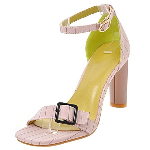 1 Toe Sandalias TAOFFEN Tacones Pink Open Mujer Moda 1n607