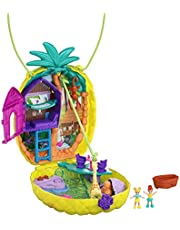 Polly Pocket GKJ64 - Polly Pocket Polly & Lila Tropicool Pineapple-Lekväska, Bärbar Handväska för Barn från 4 år