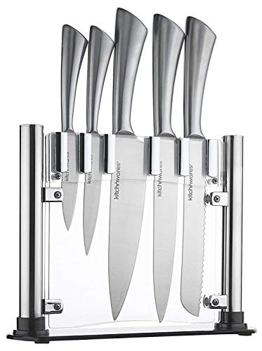 Knife Set With Acrylic Stand Stainless Steel - 6 Piece - Cutlery Set For Cutting & Carving Great for Use in Cooking at Home And Commercial Kitchen - By Kitch N' Wares -