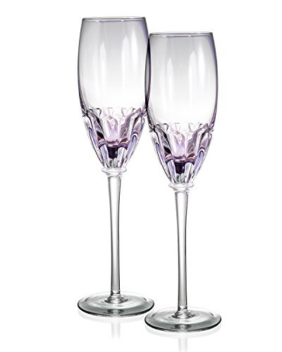 Danesco Mouth Blown Color Infused 8.5 ounce Champagne Flutes - Purple - Set of 2 -