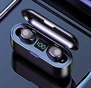 Fones de ouvido Bluetooth sem fio, controle de toque e visor LED, fones de ouvido Bluetooth 5.0 IPX7 à prova d