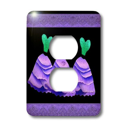 3dRose lsp_30156_6 Two Plug Outlet Cover with Three Frilly Purple and Green Dresses with Coordinating Ribbons