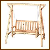 Rustic Wooden Garden Chair Swing New