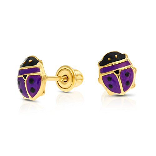 Girls 14k Yellow Gold Small Ladybug Stud Earrings with Safety Screw backings (Purple)