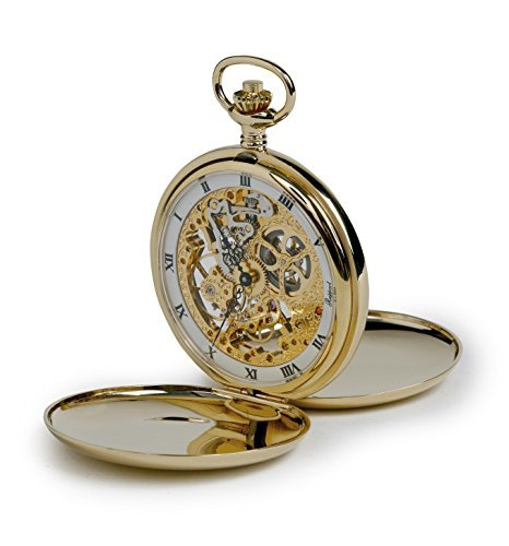 Rapport of London Gold Plated Double Hunter Pocket Watch with Skeletonized 17 Jewel Movement by Rapport London
