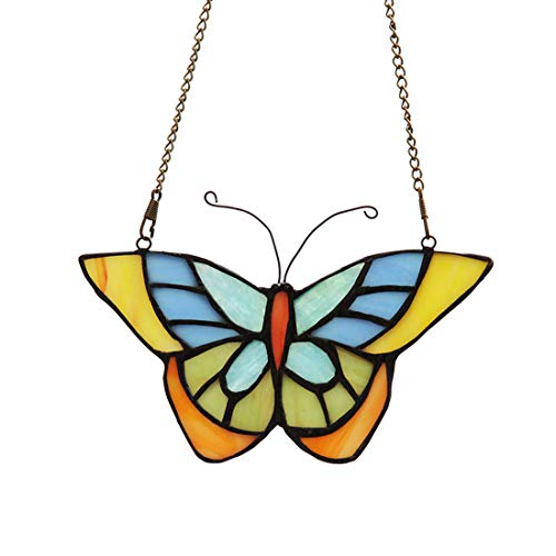 Makenier Tiffany Style Stained Glass Butterfly Window Hanging Sun Catcher ()