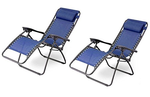 Amazon.com : Outsunny Zero Gravity Recliner Lounge Patio Pool Chair   2  PACK   Blue : Patio, Lawn U0026 Garden