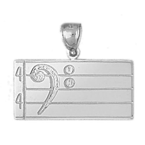 Noble Collections 14k White Gold Treble Clef Pendant