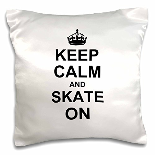 """3dRose pc_157771_1 Keep Calm And Skate on Carry on Skating Funny Skateboarding Ice Skater Or Roller Skating Gifts Pillow Case, 16"""" x 16"""""""