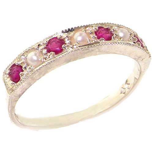 Ruby Pearl And - 925 Sterling Silver Cultured Pearl and Ruby Womens Band Ring - Sizes 4 to 12 Available