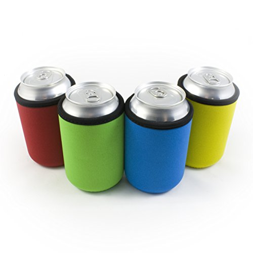 Beer Can Coolies - 4mm Thick - Easy-On Supercoolies™ - Premium Set of 4 Assorted Collapsible Can Sleeves - Red, Green, Blue, Yellow - Extra Thick Neoprene with Stitched Fabric Edges
