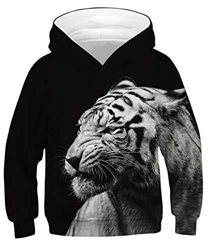 GLUDEAR Unisex Galaxy Pockets 3D Pullover Hoodie Hooded Sweatshirts for Boys Girls,Black Tiger,11-13 Years - Tiger Hoodie Sweatshirt