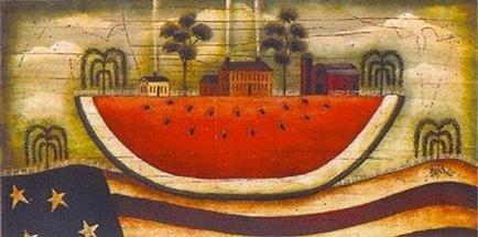 Buyartforless Watermelon Farm by David Harden 20x10 Folk Art Art Print Primitive