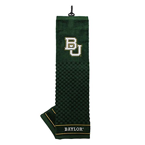 Team Golf NCAA Baylor Bears Embroidered Golf Towel, Checkered Scrubber Design, Embroidered Logo - Licensed Embroidered Tri Fold