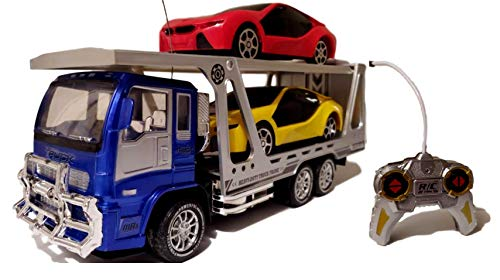 Sky Toys Children's Remote Controlled 2 Car Carrier Big Truck Hauler Transport Trailer w Lights & Sound, Perfect Child Gift Toy for Boys and Girls ()