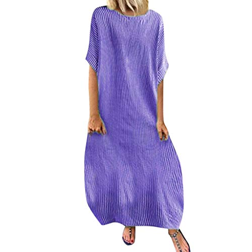 Women`s Dresses for Holiday and Cocktail Fashion  Women Stripe Sleeve Casual Women Round Neck Vestido Long Party ES Purple L Summer Dress for Woman Party Wedding / Women`s Dresses for Holiday and Cocktail Fashion  Women Stripe Slee...