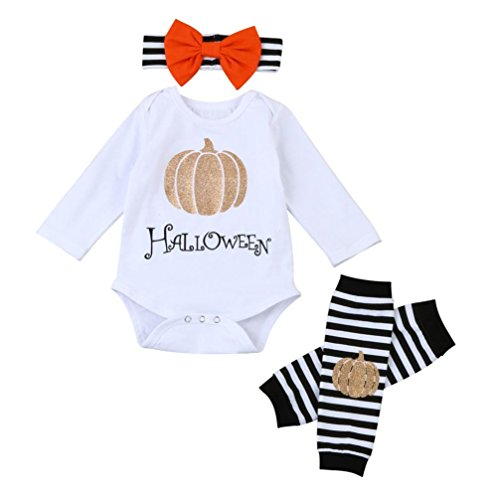 Coerni Premium Halloween Cotton Infant Baby Girl Romper+Leg Warmer+Bowknot Headband Set of 3 (6M) (Baby Daddy Halloween 2017)