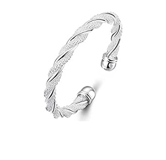 Fashion Women Jewelry Solid 925 Sterling Silver Bangle Bracelet Gift DeepDonghong