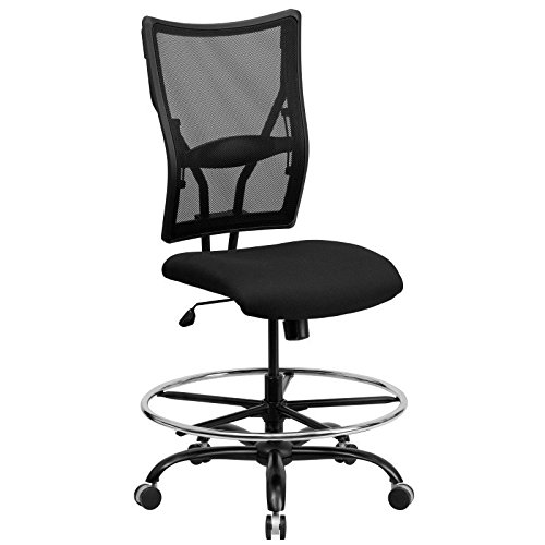 Pneumatic Seat 26' Base - HERCULES Series 400 lb. Capacity Big & Tall Black Mesh Drafting Stool [WL-5029SYG-D-GG] Electronics, Accessories, Computer
