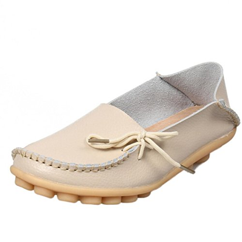 Shoes Loafers Leisure Flats Shoes Casual erthome Beige Leather Female Women Soft HXqUxFzn