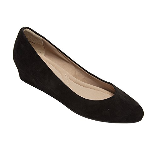 PIC/PAY Talia - Women's Pumps Wrapped Wedge - Mid Height Heel Suede Leather Comfortable Slip-On Shoes Black Suede 8M (Rubber Suede Sole Pumps)