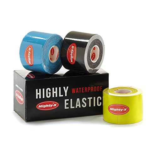 """Professional Kinesiology Tape - 3 Pack Mixed - Uncut Tape - Synthetic Kinetic Tape - Heavy Duty Sport Tape - Muscle Tape - KTape - Knee Tape - Premium Synthetic Sports Tape - K Tape - 2"""" x 5y by Mighty-X (Image #4)"""