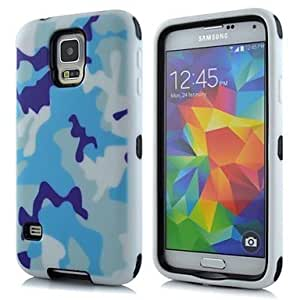 QYF 2 in 1 Blue Camouflage Robot Style PC and Sillcone Composite Case for Samsung Galaxy S5 I9600(Assorted Colors) , Light Blue